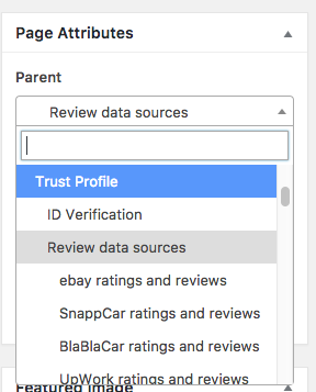 parent page selector dropdown- select2